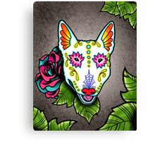 Day of the Dead Bull Terrier Sugar Skull Dog Canvas Print