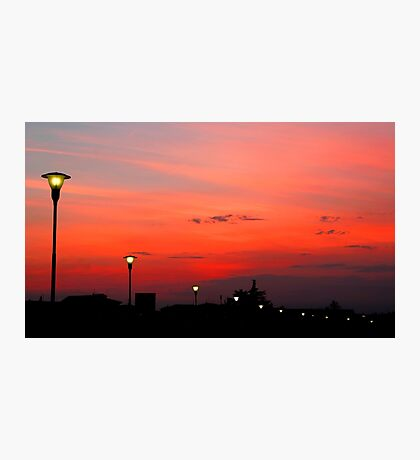 Sunset along the river Adige Verona Photographic Print