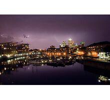 Lightning Strikes over Canary Wharf Photographic Print