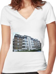 London Deco: High Trees House 3 Women's Fitted V-Neck T-Shirt
