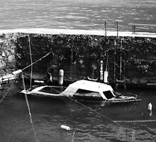 sinking boat, Lake Como by RJPhoto