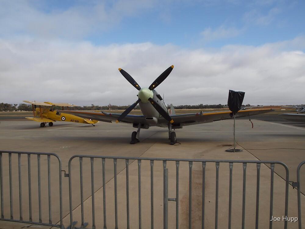Spitfire Mk XVI, VH-XVI and Tiger Moth, VH-UVZ by Joe Hupp