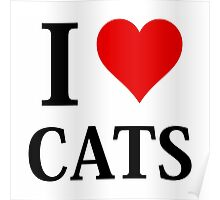 I Love Heart Cats Poster