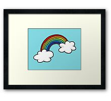 Colorful rainbow in white clouds Framed Print