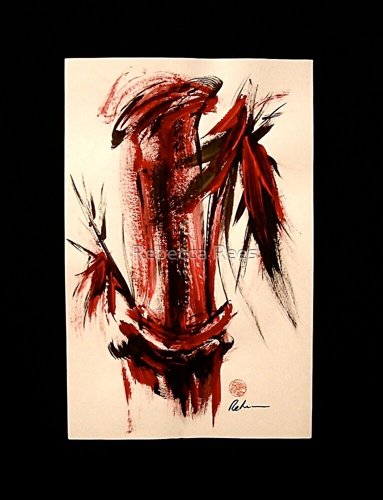 Scarlet Solace - Original Sumi-e Bamboo Painting by Rebecca Rees