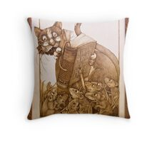 'Eager to Learn' pyrography, a cat teaching mice Throw Pillow