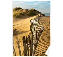 Fence at Formby Beach Poster