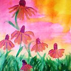 Daisys enjoying a warm dawn, watercolor by Anna  Lewis