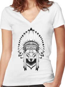 Indian Wolf Headdress Women's Fitted V-Neck T-Shirt