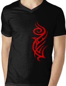 Rosa Tribal Rojo Mens V-Neck T-Shirt