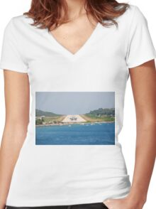 Skiathos airport, Greece Women's Fitted V-Neck T-Shirt
