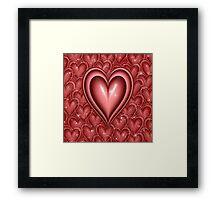 Red Floating Hearts Framed Print
