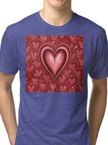 Red Floating Hearts Tri-blend T-Shirt