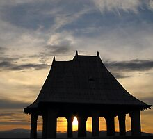 Sunset through Gazebo - North Carolina by glennc70000