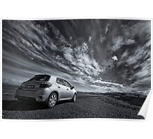 Iceland Sky with a car Poster