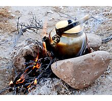 Brewing tea in nature, Iran Photographic Print