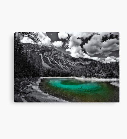 green cold mountain lake - selective colour Canvas Print