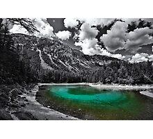 green cold mountain lake - selective colour Photographic Print