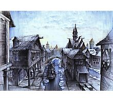Wooden town on the chilly lake Photographic Print