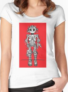 Big Eyed Robot 1 Women's Fitted Scoop T-Shirt