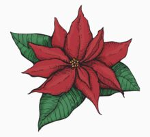 Poinsettia. Christmas decor flower One Piece - Long Sleeve