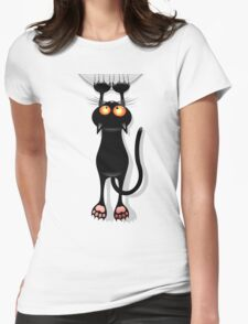 Cat clings Womens Fitted T-Shirt