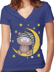 Cat moon dream Women's Fitted V-Neck T-Shirt