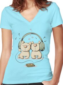 Cats & music Women's Fitted V-Neck T-Shirt