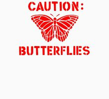Caution: Butterflies Womens Fitted T-Shirt