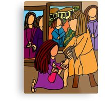 MARY WASHES JESUS FEET Metal Print