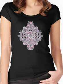 Floral Diamond Doodle in Red and Pink Women's Fitted Scoop T-Shirt