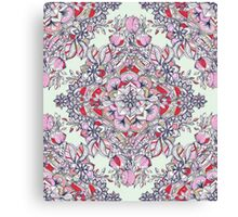 Floral Diamond Doodle in Red and Pink Canvas Print