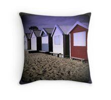Brighton Beach Huts - retro - Brighton - Victoria - Australia Throw Pillow