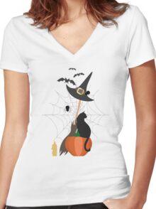 Halloween pattern Women's Fitted V-Neck T-Shirt