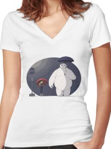 Big Hero 6 Totoro Women's Fitted V-Neck T-Shirt