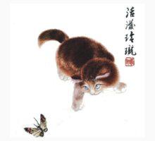 Kitten and Butterfly - Vintage Asian Art Kids Tee