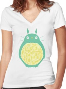 Totoro Ghibli Women's Fitted V-Neck T-Shirt