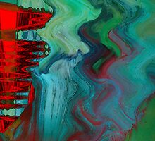 Abstract Green and Red Patterns  by kreativekate