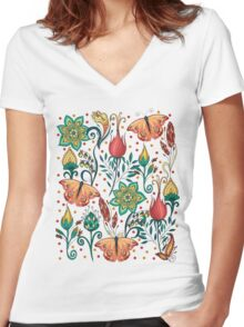 Floral pattern with butterflies Women's Fitted V-Neck T-Shirt