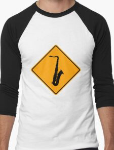 Saxophone Yellow Diamond Warning Sign Men's Baseball ¾ T-Shirt