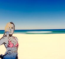 Graffitti Babe On Maroubra Beach by ltruskett