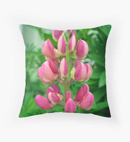 Pink Lupin Throw Pillow