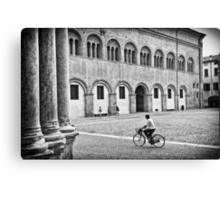 Three walking :: One biking Canvas Print