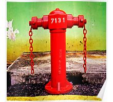 Red fire hydrant in Singapore Poster