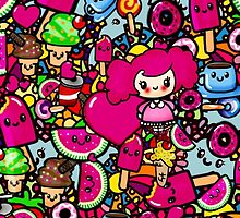 Party Kawaii Pattern with Chibi Girl PinkyP by LeahG by Cartoonistlg