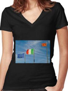 flags in the wind Women's Fitted V-Neck T-Shirt