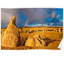 110618 Nambung National Park Pinnacles Rainbow 4 Poster