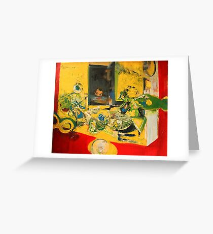 Ball game - child playing in room original painting Greeting Card