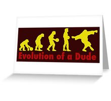 Evolution of a dude Yellow Greeting Card