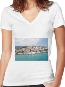 Skiathos Town harbour, Greece Women's Fitted V-Neck T-Shirt